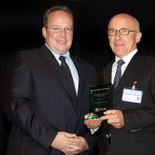 Dr. Günter Kneringer formerly of Plansee SE presented by the EPMA President Mr Ingo Cremer