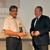 Professor Francisco Castro, of CEIT, being presented the Distinguished Service Award for 2011