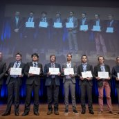 EPMA Keynote Paper Award Winners for World PM2016: (from left to right) Dipl.-Ing. Daniel Schwenck, Mr Yuu Akiyama, Dr Thomas Ebel, Mr Alexander Angré, Dipl.-Ing. Dominik Bauer, Dr Jean-Michel Missiaen, Dipl.-Ing. Nadine Eiβmann, (Co-author pictured)