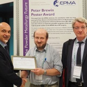 Peter Brewin Poster Award winner at Euro PM2017 - Wolfgang Limberg (Centre) with Judges and Congress Chairs Prof Alberto Molinari (Left) and Ing Matteo Federici (Right)