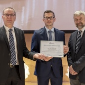 EPMA 2018 PM Thesis Competition winner - Masters Category - Dipl-Ing Kevin Ouda with EPMA President Mr Philippe Gundermann and Euro PM2018 TPC Co-Chair Prof Herbert Danninger