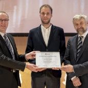 EPMA 2018 PM Thesis Competition winner - Doctorate / PhD Category - Dr Thomas Lapauw with EPMA President Mr Philippe Gundermann and Euro PM2018 TPC Co-Chair Prof Herbert Danninger