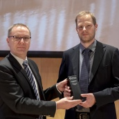 EPMA 2018 PM Component Award Winner in the Additive Manufacturing Category - Rosswag GmbH - with EPMA President Mr Philippe Gundermann