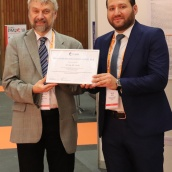 EPMA Peter Brewin Poster Award Winner - Dr Ing Ali Aidibe with Euro PM2018 TPC Co-Chair Prof Herbert Danninger